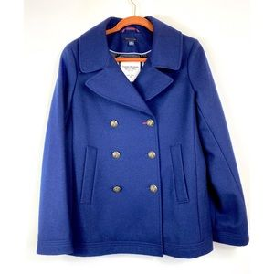 TOMMY HILFIGER DOUBLE BREASTED WOOL PEA COAT